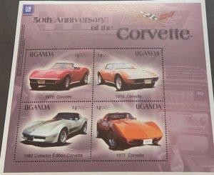 J) 1971 UGANDA, 50TH ANNIVERSARY OF THE CORVETTE, OLD CARS, SOUVENIR SHEET, XF