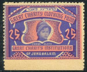 USA JUDAICA PALESTINE Great Charity Clothing Fund Jerusalem Label MNH