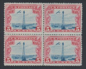 US Sc C11 MNH. 1928 5c carmine & blue Beacon Block of 4, F-VF