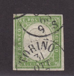 Sardinia Scott # 10 VF used 4 margin with nice color cv $ 30 ! see pic !