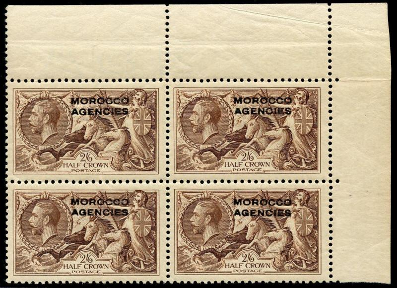 GREAT BRITAIN OFFICES IN MOROCCO SCOTT#242 CORNER BLOCK  MINT NEVER HINGED