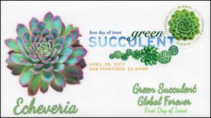 17-110, 2017, Green Succulent, Global Forever, FDC, DCP