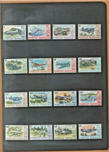 Australian Decimal Stamps Norfolk Island 1980 1981 Set of 12 to $5 MUH Aircraft