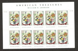 4653 Flowers, By William H. Johnson Plate Block Of 10 W/Header MNH SHIPS FREE