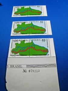 BRAZIL  -  SCOTT #1190a  - LOT OF 3 PAIRS    MNH     (gg)