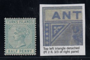 Turks Islands, SG 53b, MHR Top Left Triangle Detached variety