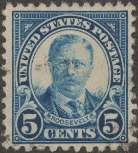 1922, US 5c, Theodore Roosevelt, Used, Sc 557c, Major Error Perf 10 at Bottom
