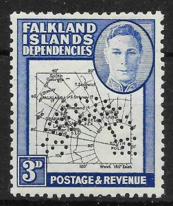 FALKLAND IS.DEP. SGG4s 1946 3d BLACK & BLUE SPECIMEN MTD MINT