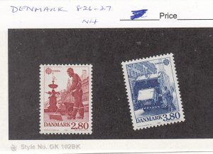 J26084  jlstamps 1986 denmark set mnh #826-7 europa , all checked