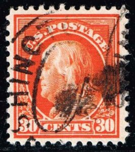 US STAMP #516 – 1917 30c Franklin, orange red USED STAMP XFS