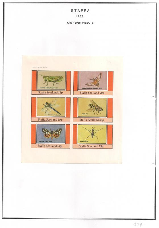 SCOTLAND - STAFFA - 1982 - Insects #3 - Imperf 6v Sheet - MLH