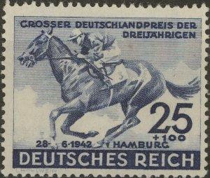 Stamp Germany Mi 814 Sc B204 1942 WWII Fascism Blue Ribbon Hamburg Horse MNG