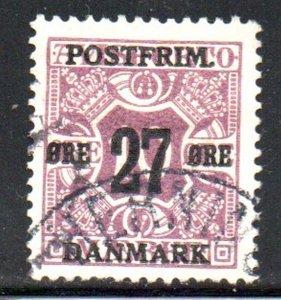 Denmark Sc 149 1918 27 ore overprint on 10 ore newspaper stamp used