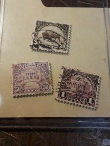 1922 High Value Used Stamp Set 30c,50c ,$1