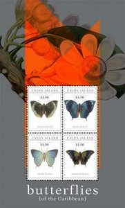 SW603  - Union Island  2011 - Insects - Butterflies of the Caribbean - MNH Minis