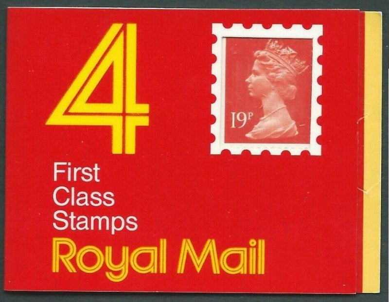GD1 1988 4 x 19p 1st class stamps barcode booklet - Code K