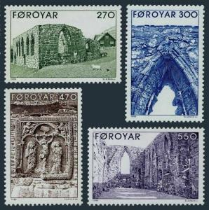 Faroe 182-185,MNH.Michel 175-178. Kirkjubour Cathedral Ruins,1988.