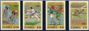Withdrew 02-13-19-Zambia 1992 Summer Olympic Sports   4 Stamp Set  26A-019