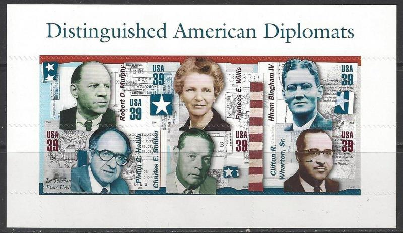 4076. 39¢ Distinguished American Diplomats. Sheet of 6. Mint. NH. 2006  (zblu)