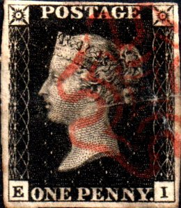 Great Britain Penny Black EI Four Margins