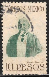 MEXICO 828, $10P JUSTO SIERRA, EDUCATOR & POLITICIAN. USED F-VF (1197)