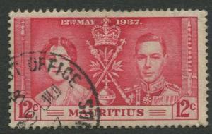 Mauritius - Scott 209 - Coronation Issue -1937 - VFU -Single 12c Stamp