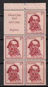 1970 Australia 457a Explorer Edward John Eyre MNH booklet pane of 5