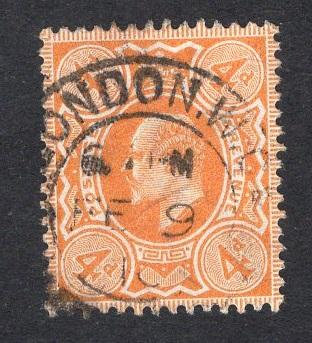 Great Britain  #144  1902  used Edward VII  4d orange
