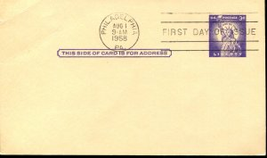 USA SC# UX46 Post Card 3c FDC  toned back