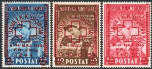 ALBANIA-1945 Red Cross Fund Part Set Top 3 Values Sg 426-428 UM V40620