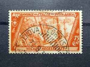 ITALY 1932 # C41 AIRMAIL 75c Italian Buildings from the Air - USED HINGED
