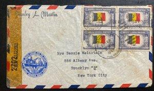 1942 Pearl Harbor Navy Honolulu Hawaii Censored Airmail Cover To Brooklyn NY USA