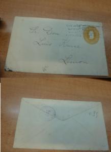 Costa Rica PSE 5c 1911 internal to Limon, Limon backstamp