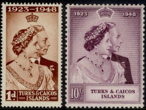 TURKS & CAICOS ISLANDS GVI SG208-209, ROYAL SILVER WEDDING set, M MINT. Cat £14.