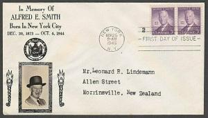 USA 1945 CROSBY photo FDC to New Zealand - 3c Alfred E Smith...............55565