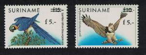 Suriname Macaw Barn Owl Birds surch 2v SG#1578-1579