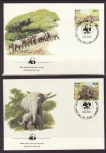Sri Lanka 803a-d Elephants 1986 S/4 U/A FDC