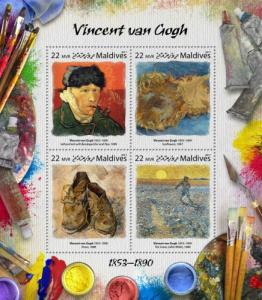 MALDIVES - 2017 - Artists : Vincent van Gogh - Perf 4v Sheet - MNH