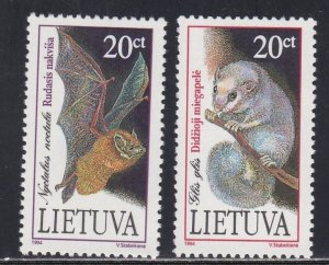 Lithuania # 500-501, Endangered Species - Bats, NH, 1/2 Cat.