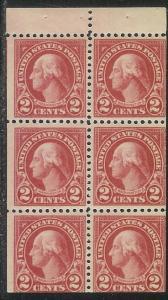 US #554c, Booklet Pane, G. Washington, MNH*-
