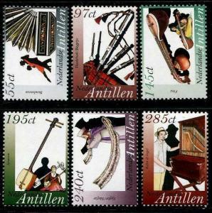HERRICKSTAMP NETHERLANDS ANTILLES Sc.# 1072-77 Musical Instruments Stamps