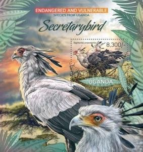 Uganda 2012 ENDANGERED SPECIES BIRDS OF PREY s/s Perforated Mint (NH)
