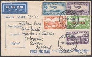 NEW ZEALAND 1935 Jubilee flight cover to Australia & UK - great franking....N555
