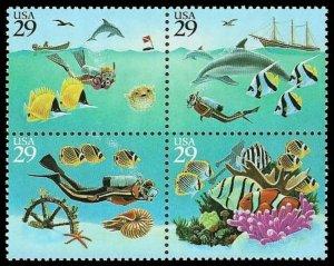US #2863/2866a Block $1.16(4x29c)Wonders of the Sea, MNH, (PCB-1)