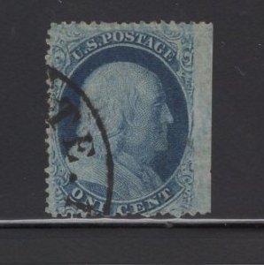 US Stamp Scott #24 USED 1c Franklin Blue SCV $37.50