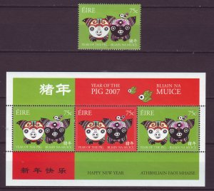Z796  JLstamps 2007 ireland set + s/s mnh #1703-04a year of the pig