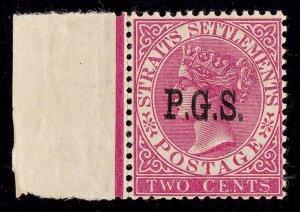 MALAYA STATES Perak 1889 P.G.S on QV 2c ERROR DOUBLE MNH ** PHOTO CERTIFICATE