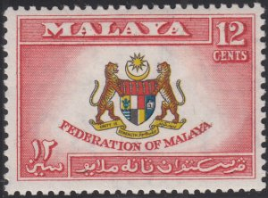 Federation of Malaya 1957 MH Sc #81 12c Coat of Arms