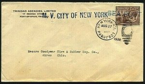 TRINIDAD 1930 cover NY Paquebot - CITY OF NEW YORK ship cancel etc.........20094
