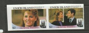 Union island 1986 Royal wedding Imperf $2 Pair UM/MNH as shown